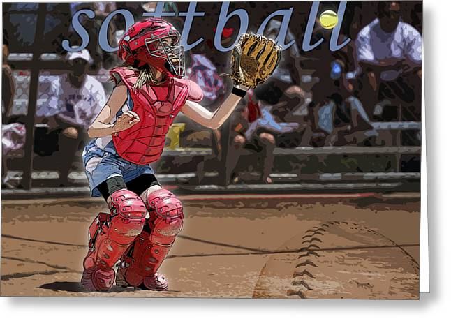 Softball Digital Art Greeting Cards - Catch It Greeting Card by Kelley King