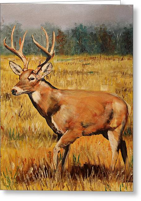 Deer Camp Greeting Cards - Catch Me If You Can Greeting Card by Karl Wagner