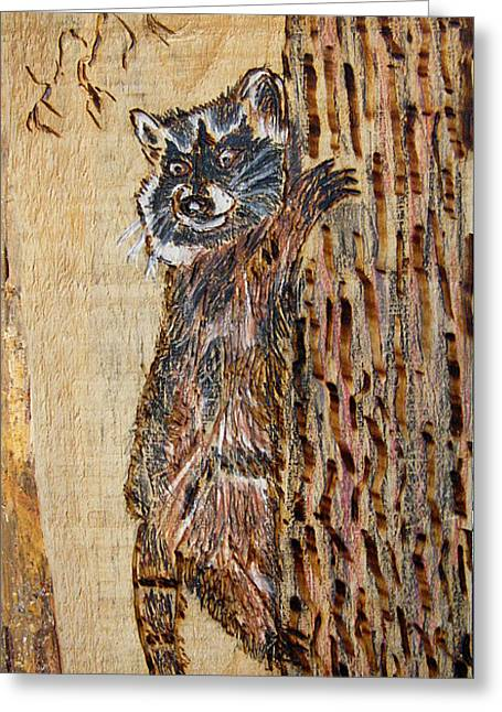 Woodburnings Pyrography Greeting Cards - Catch Me If You Can Greeting Card by Margaret G Calenda