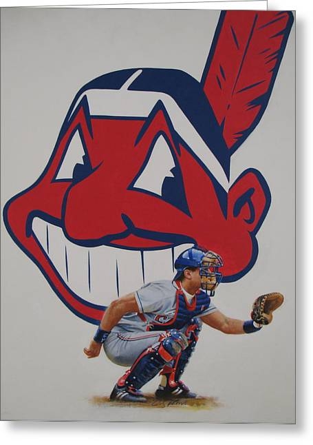 Baseball Paintings Greeting Cards - Catcher Greeting Card by Cliff Spohn