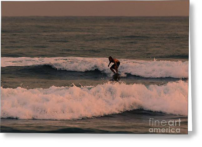 Exciting Surf Greeting Cards - Catchin the Sunset Surf Greeting Card by Darcy Michaelchuk