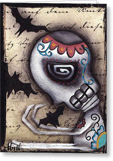 Gothic Surreal Greeting Cards - Catching Bats Greeting Card by  Abril Andrade Griffith