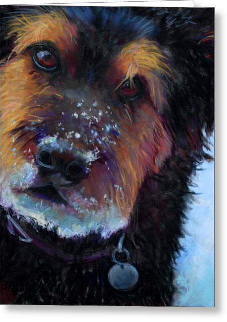 Dog In Snow Pastels Greeting Cards - Catching Snowballs Greeting Card by Billie Colson