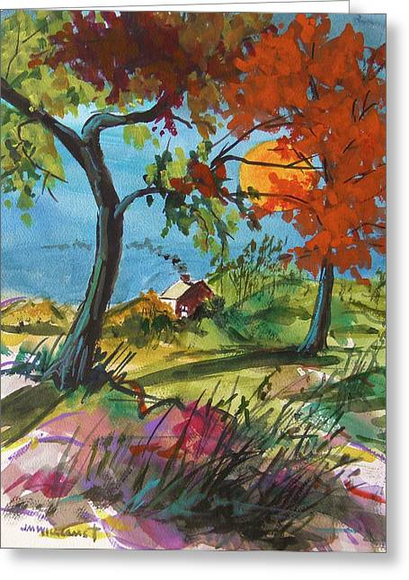 Colors Of Autumn Drawings Greeting Cards - Catching Sundown Greeting Card by John  Williams