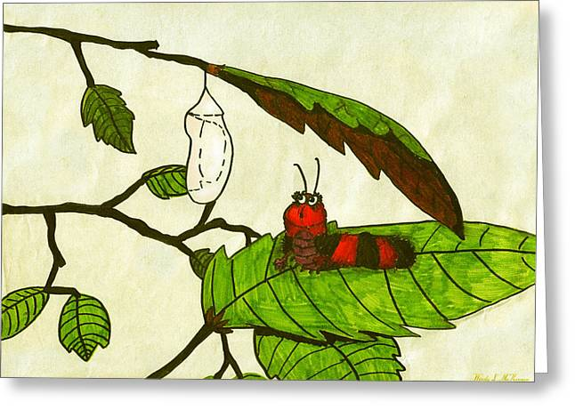 Cocoon Mixed Media Greeting Cards - Caterpillar Greeting Card by Wendy McKennon