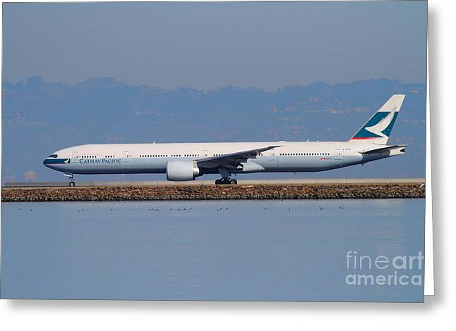 Landing Jet Greeting Cards - Cathay Pacific Airlines Jet Airplane At San Francisco International Airport SFO . 7D11919 Greeting Card by Wingsdomain Art and Photography