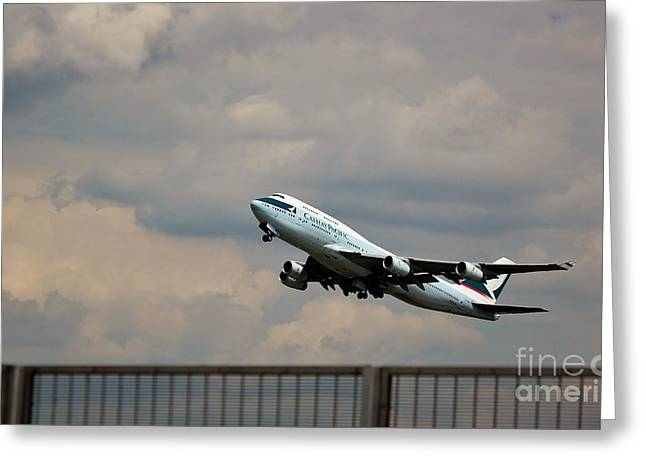 Retraction Greeting Cards - Cathay Pacific B-747-400 Greeting Card by Rene Triay Photography
