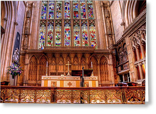 Soaring Tower Greeting Cards - Cathedral Architecture 01 Greeting Card by Svetlana Sewell