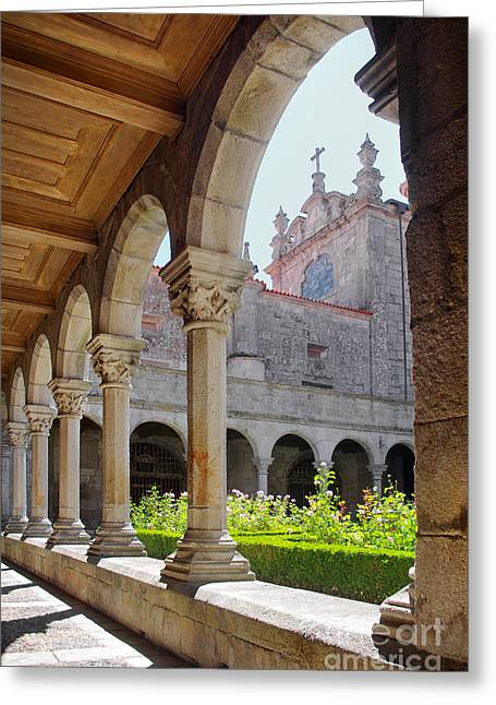 Cloister Greeting Cards - Cathedral Cloister Greeting Card by Carlos Caetano