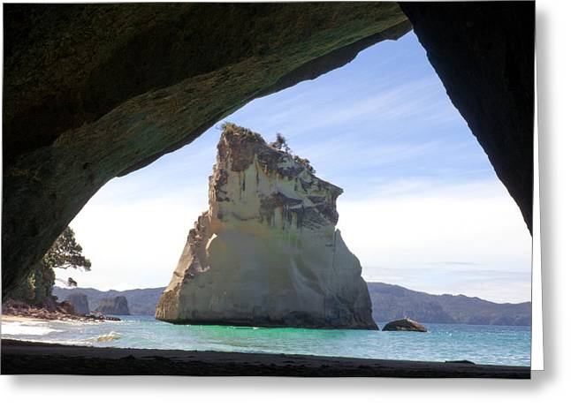 Cathedral Rock Greeting Cards - Cathedral Cove, Sandstone Island Greeting Card by Himani - Printscapes
