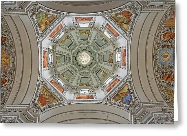 Cathedral Dome Interior, Close Up Greeting Card by Axiom Photographic