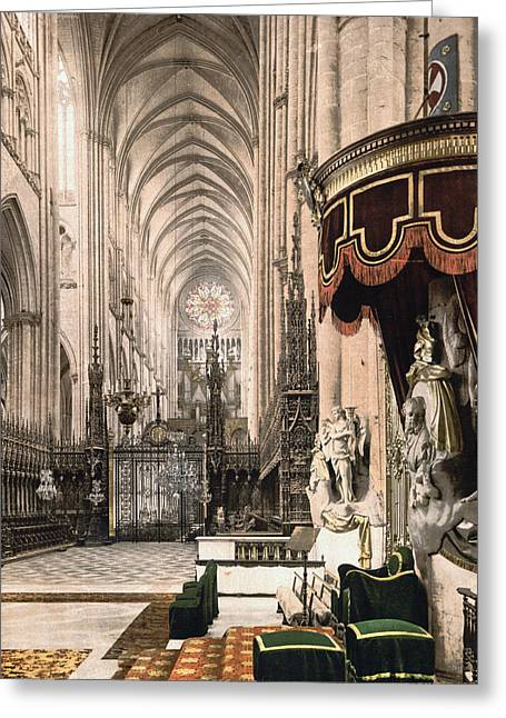 Amiens Greeting Cards - Cathedral in Amiens France Greeting Card by International  Images