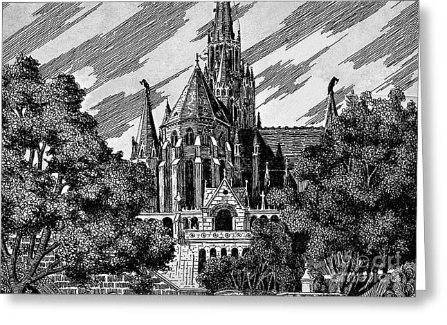 European work Drawings Greeting Cards - Cathedral Greeting Card by Odon Czintos