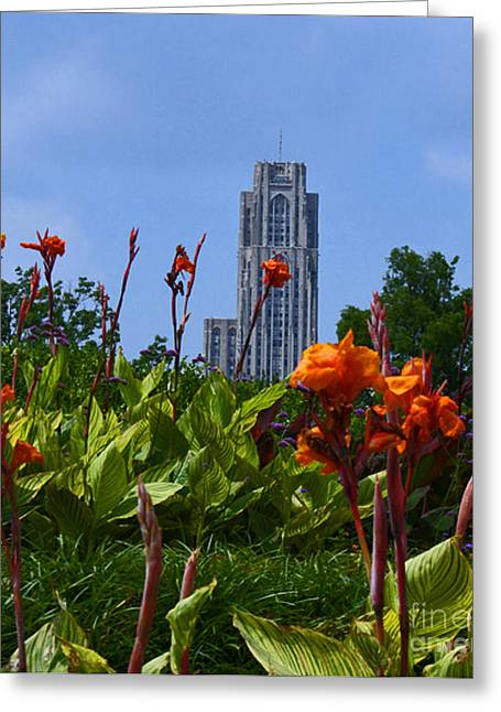 Phipps Conservatory Greeting Cards - Cathedral Of Learning Greeting Card by Joan Powell