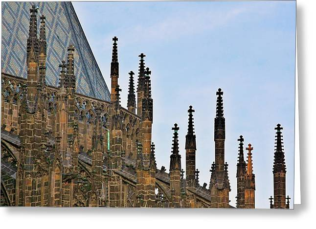 Historic Architecture Greeting Cards - Cathedral of SS Vitus - Prague Castle Hradcany - Prague Greeting Card by Christine Till