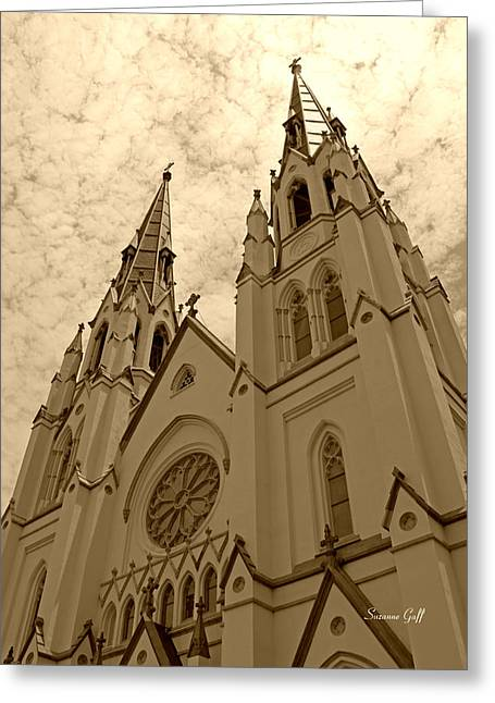 Sepia Digital Art Greeting Cards - Cathedral of St John the Baptist in sepia Greeting Card by Suzanne Gaff