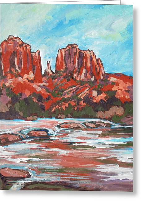 Oak Creek Paintings Greeting Cards - Cathedral Rock 2 Greeting Card by Sandy Tracey