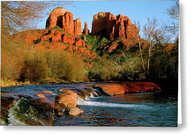 Red Rock Crossing Greeting Cards - Cathedral Rock At Redrock Crossing Greeting Card by Crystal Garner
