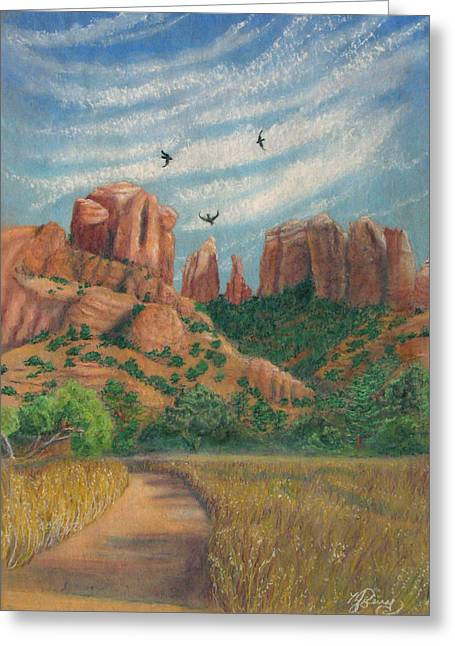 Cathedral Rock Pastels Greeting Cards - Cathedral Rock in Sedona Greeting Card by Marcia  Perry