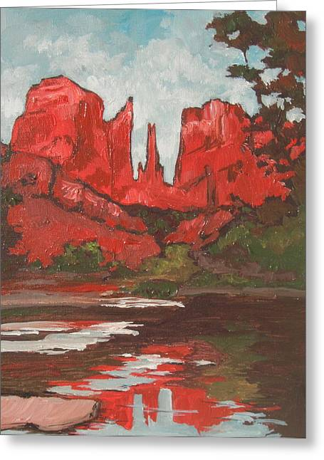 Oak Creek Greeting Cards - Cathedral Rock Greeting Card by Sandy Tracey