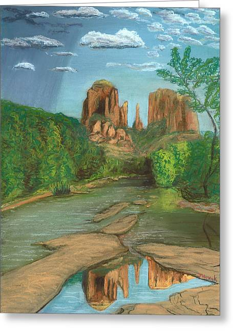 Cathedral Rock Pastels Greeting Cards - Cathedral Rock Sedona Greeting Card by Jackie Novak