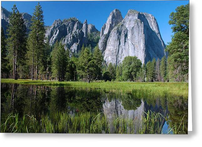 Cathedral Rock Greeting Cards - Cathedral Rocks - Yosemite Greeting Card by Stephen  Vecchiotti