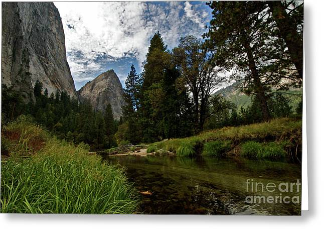 Cathedral Rock Greeting Cards - Cathedral Rocks along the Merced Greeting Card by Chris  Brewington Photography LLC