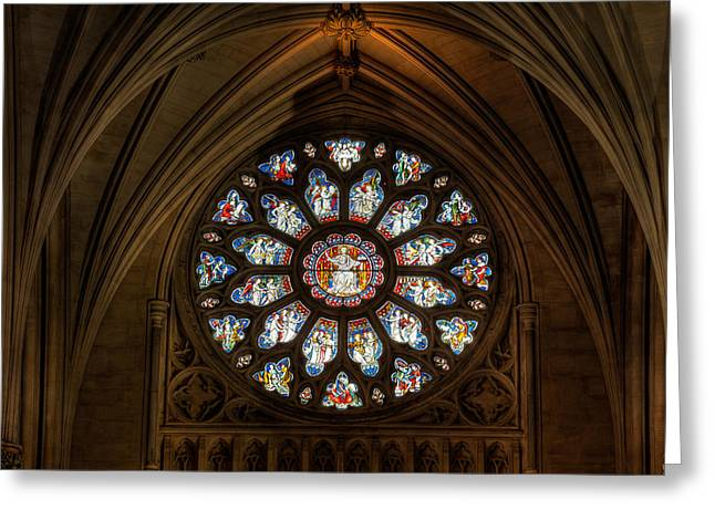 Religious Art Digital Art Greeting Cards - Cathedral Window Greeting Card by Adrian Evans