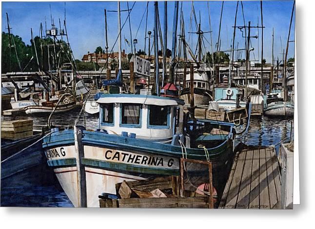 Santa Cruz Paintings Greeting Cards - Catherina G Greeting Card by James Robertson