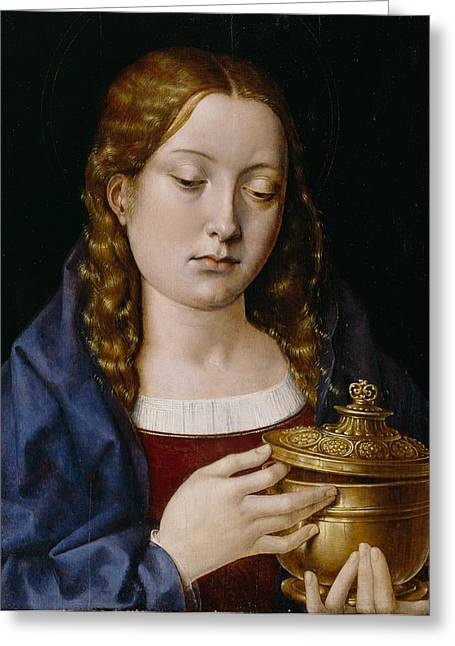 Henry Viii Greeting Cards - Catherine of Aragon as the Magdalene Greeting Card by Michiel Sittow