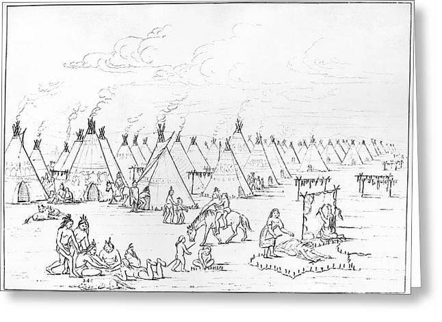 Drying Rack Greeting Cards - Catlin: Comanche Village Greeting Card by Granger