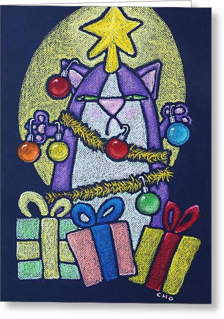 Storybook Pastels Greeting Cards - Catmas Tree Greeting Card by wendy CHO