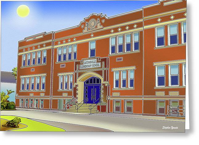 Catonsville Greeting Cards - Catonsville Elementary School Greeting Card by Stephen Younts