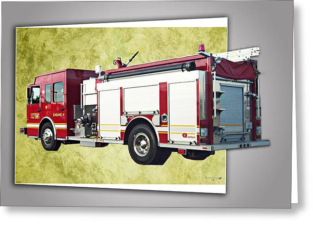 Fired Ceramics Greeting Cards - Catoosa Fire Engine 4 Greeting Card by Linda Deal