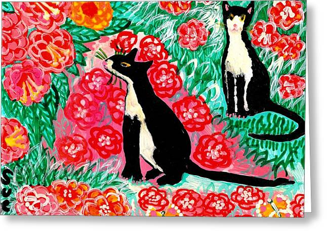 White Ceramics Greeting Cards - Cats and Roses Greeting Card by Sushila Burgess