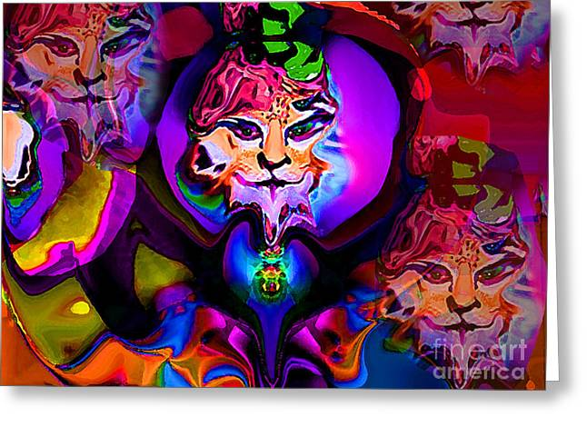 Tiger Dream Greeting Cards - Cats Dream Greeting Card by Rayofra Ra