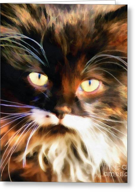 Beauty Mark Greeting Cards - Cats Eyes Greeting Card by Clare VanderVeen