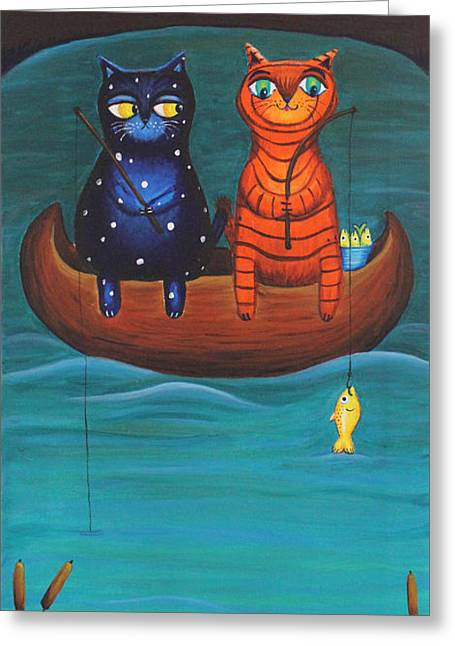 Cat Tail Greeting Cards - Cats Fish Greeting Card by Jennifer Alvarez