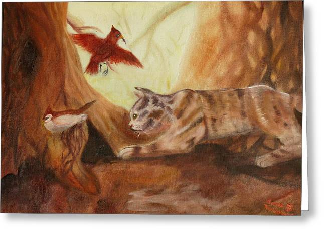 Cat's Hunt Greeting Card by Anna  Henderson