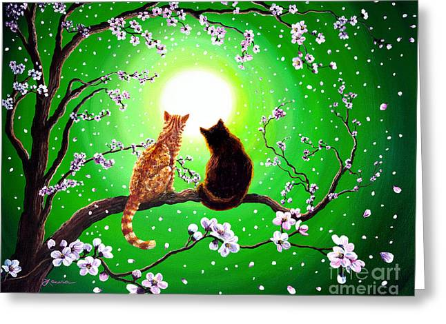 Sakura Paintings Greeting Cards - Cats on a Spring Night Greeting Card by Laura Iverson