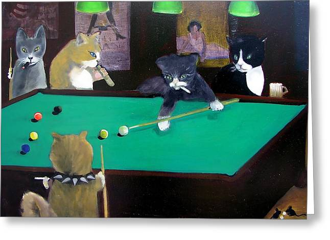 Hall Greeting Cards - Cats Playing Pool Greeting Card by Gail Eisenfeld