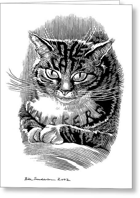 Linocut Greeting Cards - Cats Whiskers, Conceptual Artwork Greeting Card by Bill Sanderson