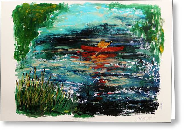 Canoe Drawings Greeting Cards - Cattails and Canoe Greeting Card by John  Williams