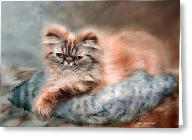Feline Mixed Media Greeting Cards - Cattitude 1 Greeting Card by Carol Cavalaris