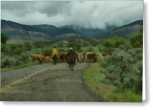 Cattle Drive Greeting Cards - Cattle Drive 2 Greeting Card by Ernie Echols