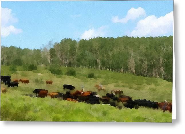 Cattle Drive Greeting Cards - Cattle Drive Greeting Card by Ernie Echols