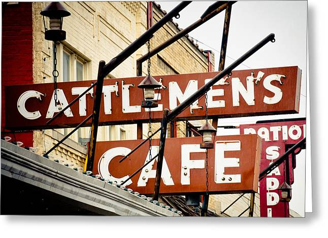 Stockyards Greeting Cards - Cattlemens Steakhouse Greeting Card by David Waldo