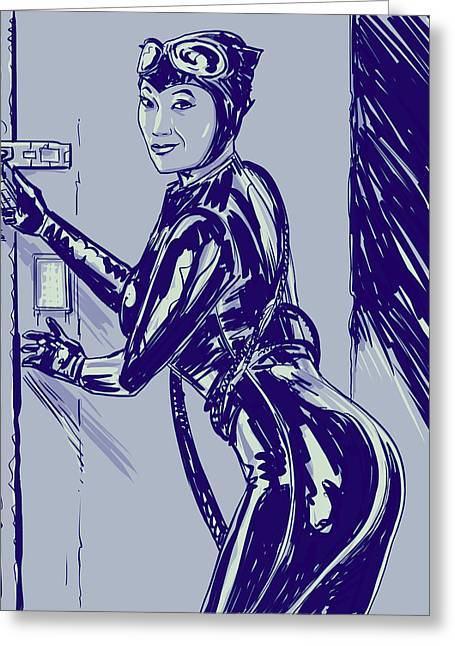 Batman Drawings Greeting Cards - Catwoman Greeting Card by Giuseppe Cristiano