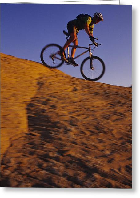 Best Sellers -  - Slickrock Greeting Cards - Caucasian Male Mountain Biking Greeting Card by Bobby Model