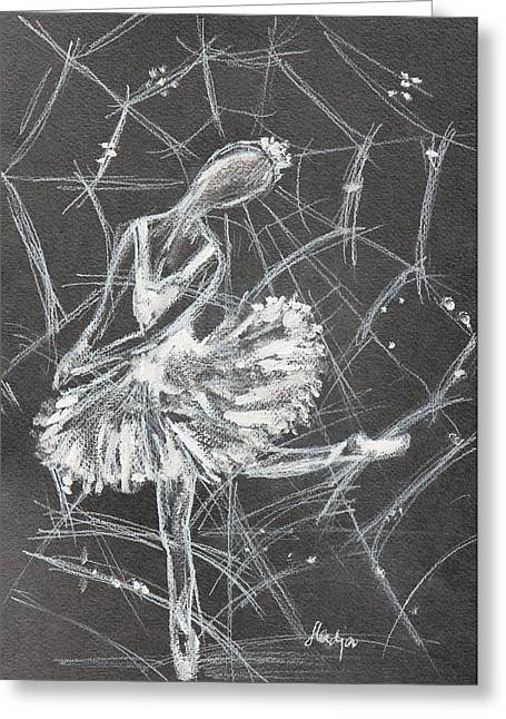 Ballet Dancers Drawings Greeting Cards - Caught in a web  Greeting Card by Sladjana Endt